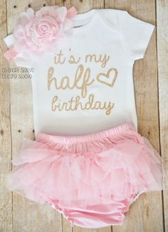 c437ac5b half birthday outfit girl, half birthday bodysuit, cake smash outfit girl, 6  month photo outfit girl, half birthday tutu set, pink & gold