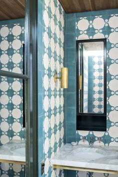 blue tiles with black and gold