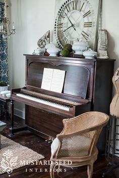 fischer piano | miss mustard seed - LOVE the styling on top of the piano!