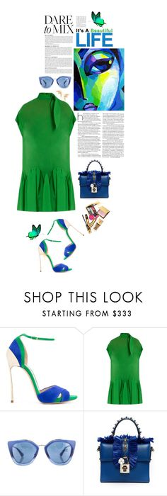 """""""Dare to Mix!!! Blue and Green!!!"""" by shortyluv718 ❤ liked on Polyvore featuring Casadei, Anja, Delpozo, Yves Saint Laurent, Prada, Dolce&Gabbana, Jules Smith, dress, summerstyle and sunnies"""