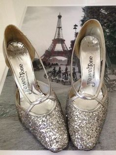 1950s Vintage Glitter Silver Shoes / Party / by InTheMood4Vintage, $42.00