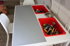She Bought An IKEA Table For Her Son's Room, But She Cut Two Holes In The Top To Turn It Into This   facebook