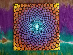 Sacred Geometry Dot Mandala Painting 5 inch by 5 inch Canvas Board Painted with Acrylic Paints  This bright and beautiful painting starts with a sky blue dot in the middle and radiates out in a blend of color and light. This pattern is found so often in nature and is one of my favorite patterns to paint. Painted on a 5 inch by 5 inch canvas board, signed and dated. This painting comes with a small easel for display. These little Mini painting are perfect for any space and make a wonderful…