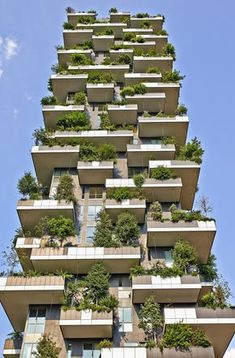 "Vertical Forest apartment building in the Porta Nuova area of Milano, Lombardy, Italy also called ""Bosco Verticale"" and winner for 2014 of the International Highrise Award, organized by Deutsches Architekturmuseum of Frankfurt. Green Architecture, Futuristic Architecture, Sustainable Architecture, Architecture Design, Residential Building Design, Residential Architecture, Building Facade, Green Building, Building Plans"
