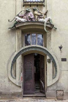 Frog Wall Art - Photograph - Frogs by Jaroslaw Blaminsky Architecture 101, Architecture Sketchbook, Entrance Doors, Doorway, Old Doors, Windows And Doors, Frosch Illustration, Portal, Art Nouveau