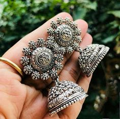 Silver Ring For Thumb Referral: 4347672028 Indian Jewelry Earrings, Silver Jewellery Indian, Jewelry Design Earrings, Antique Earrings, Silver Jewelry, Silver Rings, Designer Earrings, Jewelry Rings, Antique Jewellery Designs