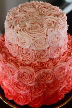 Pink Rose Wedding Cake