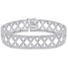Finesque Sterling Silver 1/2ct TDW Diamond Bow Link Bracelet ($150) ❤ liked on Polyvore featuring jewelry, bracelets, bow jewelry, diamond jewellery, bow bracelet, sterling silver bangles and sterling silver jewellery