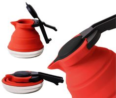 A very collapsible silicone tea kettle, the Cuissential – Slickboil is great for space-saving kitchens and camp boiling (though why not just use a camp cup?)