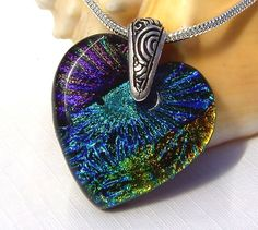 Glass Heart Pendant  Dichroic Jewelry  Dichroic by TremoughGlass