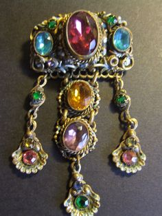 Very RARE ART NOUVEAU CZECH CHATELAINE BROOCH