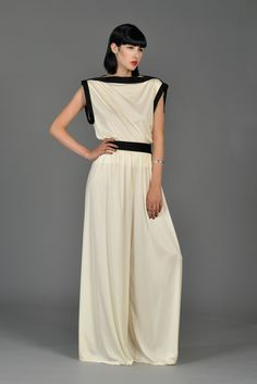 Bill Tice Ivory and Black Palazzo Pant Ensemble   BUSTOWN MODERN
