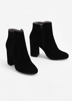 Bottines velours à talons - Femme | MANGO France
