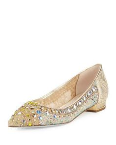 S1LX2 Rene Caovilla Beaded Lace Ballerina Flat, Gold