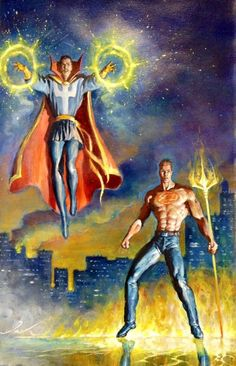 Doctor Strange and Daimon Hellstrom by Mark Texeira Marvel Universe Characters, Marvel Comic Universe, Comics Universe, Comic Book Characters, Comic Book Heroes, Marvel Heroes, Comic Books Art, Marvel Avengers, Comic Art