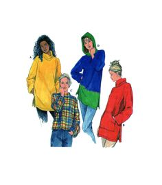 Simplicity 7798 Sporty Casual Top - Long Sleeve Top with Hood, Cowl, Mock Turtle Neck, Kangaroo Pocket Two Bodice Length Options Size Large by FindCraftyPatterns on Etsy