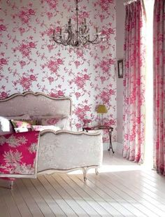 Great wallpaper design--and look! it even matches the curtains! And everything else in the room!