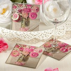 Vintage Floral Design Photo Coasters - Set of Two