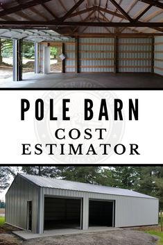 How Much Does A Pole Barn Cost? Check Out This Free Estimator! - One of the biggest things about building a pole barn was knowing how much it was going to cost. Diy Pole Barn, Metal Pole Barns, Building A Pole Barn, Pole Barn Garage, Pole Barn House Plans, Pole Barn Homes, Metal Building Homes Cost, Metal Barn, Garage Plans