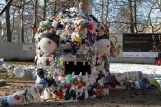 """Plastic Bag Monster - """"Together with Ekologi Brez Meja (ocistimo.si), Lukatarina and Eco Vitae we collected 40,000 used plastic bags and 7,500 used plastic cups from 12 kindergartens, 21 primary schools, 4 high schools and 3 faculties from the city of Ljubljana (Slovenia) and from more than 500 people from Ljubljana."""""""