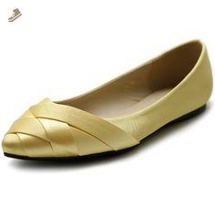 Ollio Women's Shoe Ballet Weave Pointed Toe Dress Flat (8.5 B(M) US, Yellow) - Ollio flats for women (*Amazon Partner-Link)