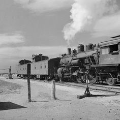 Switch engine changing cabooses on an ATSF Railroad train, Mar 1943. Copy of photo by Jack Delano