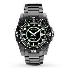 Bulova Men's 98B178 Marine Star Black and Green Dial Stainless Steel Watch