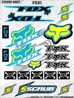 Available now!!! ScrubDesignz.com #motocross #graphics #decals Fox Racing Tattoos, Fox Racing Logo, Racing Stickers, Cool Stickers, Sticker Bomb Wallpaper, Number Wallpaper, Logo Sticker, Sticker Design, Graphic Design Print
