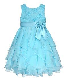 Blue Rosette Ruffle Dress - Infant, Toddler & Girls