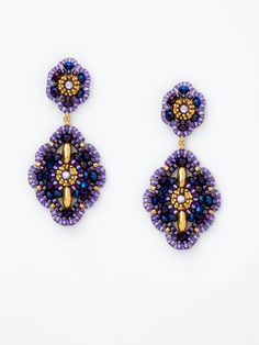 Purple Marquise Shaped Drop Earrings by Miguel Ases