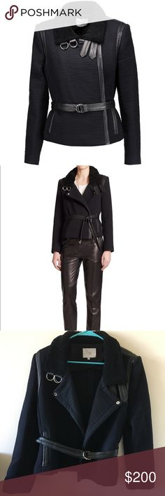 IRO Cloud Shearling Collar Jacket This quilted cotton jacket flaunts leather trim and a shearling collar, creating a most-wanted layer with the perfect dose of luxe. Shearling collar with double D-ring closure. Fold-over lapel. Long sleeves. Self-tie belt. Side welt pockets. IRO Jackets & Coats