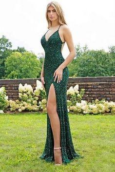 Mermaid V-Neck Sparkling Long Prom Dress Formal Evening Dresses 601545 Sparkly Prom Dresses, Open Back Prom Dresses, Formal Evening Dresses, Dress Formal, Green Sparkly Dress, Green Long Dresses, Fitted Prom Dresses, Dresses Dresses, Prom Dresses With Slits