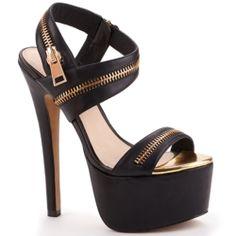 Platform Heel with zipper accents