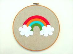 Personalised hanging embroidery hoop. Rainbow applique design by Emy  Wilma