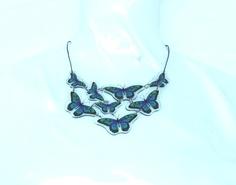 collana 8 elementi farfalla verde e blu