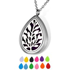 HOUSWEETY Aromatherapy Essential Oil Diffuser Necklace Pendant Locket Jewelry with 24' Chain and 12 Refill Pads (Non-Engraving) ** Don't get left behind, see this great  product : aromatherapy diffuser