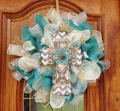 Spring Wreath Summer Wreath Teal Burlap Chevron and Metal Cross Deco Mesh Wreath