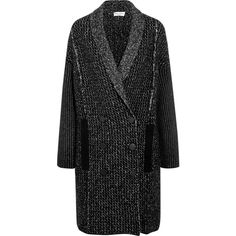 Sonia Rykiel - Double-breasted Stretch Wool-blend Coat (2.540 BRL) ❤ liked on Polyvore featuring outerwear, coats, black, sonia rykiel coat, sonia rykiel and double breasted coat