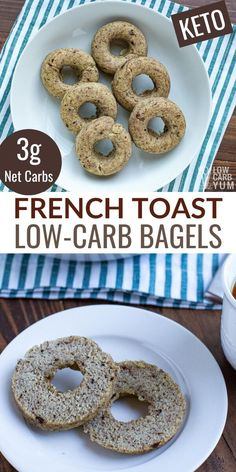 A tasty low carb French toast bagel that's sure to please. It's perfect with butter spread on top! This low carb bagel is great for breakfast on the go. | lowcarbyum.com Healthy Low Carb Dinners, Low Carb Dinner Recipes, Keto Recipes, Cooking Recipes, Keto Desserts, Ketogenic Recipes, Bread Recipes, Healthy Eating, Breakfast On The Go
