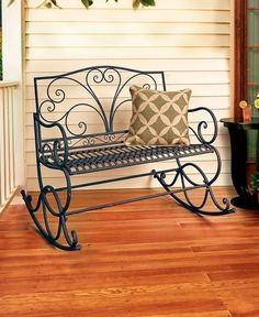 BROWN OUTDOOR ROCKING CHAIR / VINTAGE STYLE METAL ROCKER OUTDOOR FURNITURE DECOR #Unbranded