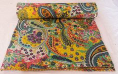 Indian Handmade flower printed Kantha Quilt Throw by textileszone