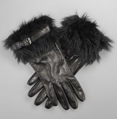 Faux Fur and Leather Gloves  Kenneth Cole New York