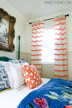 Don't shy away from an all-over treatment. Neon pom poms offer just a little playfulness to traditional white curtains. Click through for a how-to and other DIY curtains, shades and window treatments. Pom Pom Curtains, Short Curtains, Striped Curtains, White Curtains, Diy Curtains, Pom Poms, Plain Curtains, Bedroom Curtains, Bedroom Sets