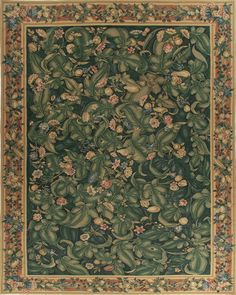 """Contemporary reproduction of an Aubusson rug, based on a Flemish wall tapestry. """"Fifteenth century voyages to the new world created a fascination for exotic botanicals."""""""
