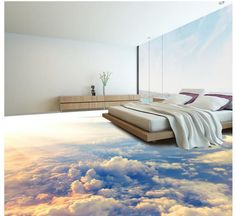 WALK ON CLOUDS!Dreamlike Sky Floor Mural Photo Flooring Wallpaper Home Printing Decoration. pvc floor waterproof self adhesive wallpaper customize high quality wallpaper The underwater world floor wallpaper