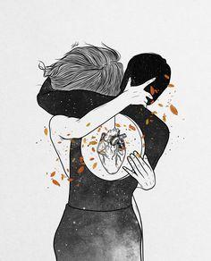 Couple Illustration, Illustration Art, Art Sketches, Art Drawings, Muhammed Salah, Different Kinds Of Art, Heart Art, Aesthetic Art, Love Art