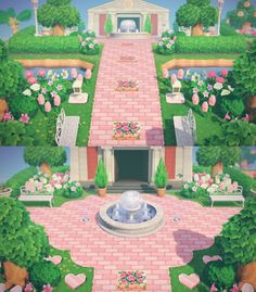 A little park in front of museum ac newhorizons Animal Crossing 3ds, Animal Crossing Wild World, Animal Crossing Villagers, Animal Crossing Qr Codes Clothes, Animal Games, My Animal, Pink Island, Map Layout, Ac New Leaf
