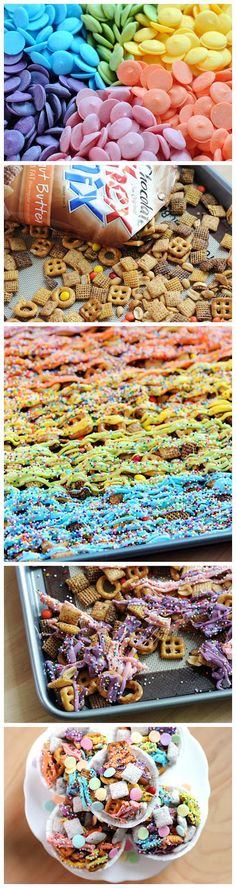 Rainbow Chex Mix is the perfect party treat for a kids' party. looks so pretty on the dessert table or in individual muffin cups. Party Treats, Party Snacks, Holiday Treats, Yummy Treats, Delicious Desserts, Sweet Treats, Yummy Food, Snacks Saludables, Rainbow Food