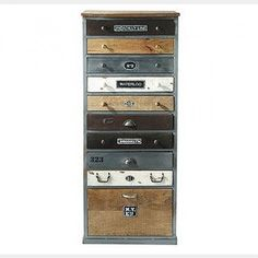 Tallboy drawers of timber and vintage industrial crates