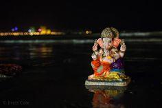 Ganesh idols on Chowpatty Beach in Mumbai, India, during the Ganesh Chaturthi festival.